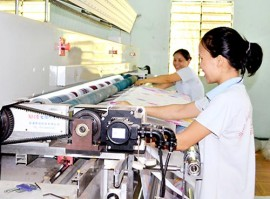Sản xuất nệm ở Công ty TNHH một thành viên Thế Linh (TP.Biên Hòa).